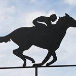 Girouette CHEVAL DE COURSE en acier avec mât et fixation murale de la marque Olive Grove image 1 produit