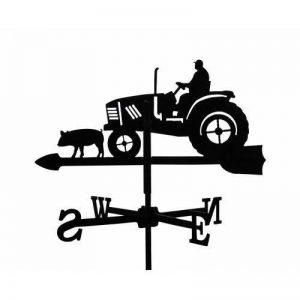 Girouette Fermier sur son Tracteur en fer forgé petit modèle de la marque Outils et Nature image 0 produit