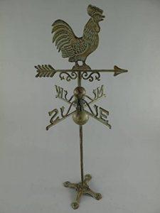 girouette, girouette, jeu du vent avec coq, fonte patinée brun vert de la marque linoows image 0 produit