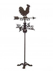 Girouette sur pied - motif coq - fer - style antique marron de la marque aubaho image 0 produit