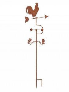 Girouette sur pied - motif coq - fer - style antique rouille de la marque aubaho image 0 produit
