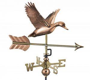 Good Directions Flying Duck avec flèche Cottage Girouette en cuivre pur avec toit plat Canard volant avec flèche Pure Copper with Roof Mount de la marque Good Directions image 0 produit