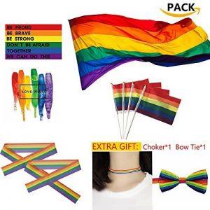 Grand LGBT Drapeau Polyester Durabol Homosexuel Rainbow Pride LGBT Lesbiennes Cylindriques pour le Jour de la Pride LGBT Drapeau Kit Rainbow Symbole Gays, Lesbiennes, L'amour est l'amour Parade 59 * 35inch Flag de la marque Sophko image 0 produit