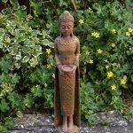 Grand moine bouddha en pierre fine couleur exklusiv en pierre coulée Résistance au froid de la marque gartendekoparadies.de image 2 produit