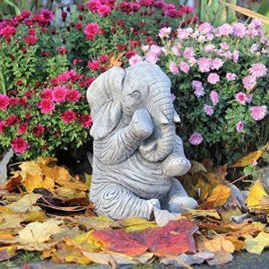 Grande Elephant Trunk Down Statue de jardin Handcast Décor de la marque World Of Stone image 0 produit