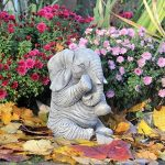 Grande Elephant Trunk Down Statue de jardin Handcast Décor de la marque World Of Stone image 1 produit