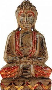 Grande en bois Bouddha Thaï assis figurine Ornement Doré Orange détail de la marque GW image 0 produit