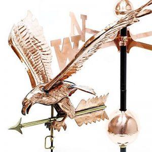 Grande Girouette 3D Aigle sur éolienne en Cuivre avec pied de support de la marque WilTec image 0 produit