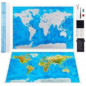 Grattez carte du monde par Leto TG–personnalisé de voyage tracker Poster–Bleu et Blanc avec nous des États-Unis, monde Pays + outils pour faciliter la suppression–Un cadeau idéal pour les voyageurs, décoration d'intérieur de la marque LETO TG image 0 produit