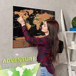 Grattez carte du monde par Leto TG–personnalisé de voyage tracker Poster–Noir et Doré avec nous des États-Unis, Pays du monde et Raye drapeaux + outils pour facile suppression–Cadeau parfait pour les voyageurs de la marque LETO TG image 1 produit