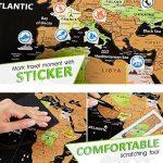 Grattez carte du monde par Leto TG–personnalisé de voyage tracker Poster–Noir et Doré avec nous des États-Unis, Pays du monde et Raye drapeaux + outils pour facile suppression–Cadeau parfait pour les voyageurs de la marque LETO TG image 2 produit