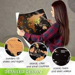 Grattez carte du monde par Leto TG–personnalisé de voyage tracker Poster–Noir et Doré avec nous des États-Unis, Pays du monde et Raye drapeaux + outils pour facile suppression–Cadeau parfait pour les voyageurs de la marque LETO TG image 3 produit