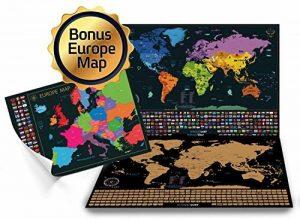 Grattez Cartes Cadeau Bundle–Scratch Off carte du monde (61x 42,7cm) + Scratch Off carte de l'Europe (46x 33cm)–détaillée carte du monde avec nous des États-Unis et de tous les pays drapeaux + détaillée carte Europe avec drapeaux de l'état et des image 0 produit