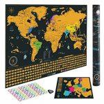 Grattez Cartes Cadeau Bundle–Scratch Off carte du monde (61x 42,7cm) + Scratch Off carte de l'Europe (46x 33cm)–détaillée carte du monde avec nous des États-Unis et de tous les pays drapeaux + détaillée carte Europe avec drapeaux de l'état et des image 4 produit