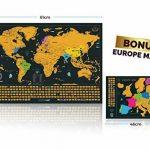 Grattez Cartes Cadeau Bundle–Scratch Off carte du monde (61x 42,7cm) + Scratch Off carte de l'Europe (46x 33cm)–détaillée carte du monde avec nous des États-Unis et de tous les pays drapeaux + détaillée carte Europe avec drapeaux de l'état et des image 5 produit