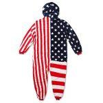 Grenouillère polaire USA stars and stripes, combinaison lounge, onesie pelucheux unisex, avec motif drapeau américain, étoiles et bandes de la marque Katara image 1 produit