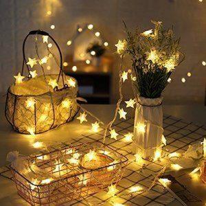 Guirlandes Lumineuse Etoiles Led à Piles - 5m 40-LEDs étoilé LED guirlandes Chaine de lampes - Blanche chaude Décor Chambre Maison Jardin Terrasse pour Fête Noël Mariage Anniversaire Soirée de la marque cdsnxore image 0 produit