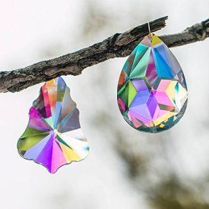 H & D 2pcs 76mm Feuilles d'érable en forme de larme et Bauhinia Pendentif Crystal Prism Soleil anti-gouttes de la marque Inconnu image 0 produit