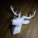 Hansmeier tête de cerf sculpture - blanc - 42 x 41 cm - décoration murale moderne - matériau robuste - raffiné, élégant, abstrait (Blanc) de la marque Hansmeier image 2 produit