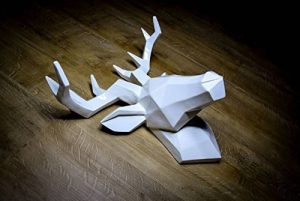 Hansmeier tête de cerf sculpture - blanc - 42 x 41 cm - décoration murale moderne - matériau robuste - raffiné, élégant, abstrait (Blanc) de la marque Hansmeier image 0 produit
