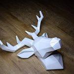 Hansmeier tête de cerf sculpture - blanc - 42 x 41 cm - décoration murale moderne - matériau robuste - raffiné, élégant, abstrait (Blanc) de la marque Hansmeier image 3 produit