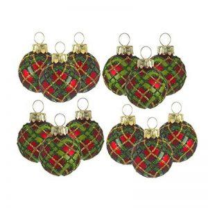 Heaven Sends, boules en verre miniatures à motif tartan pour décoration de sapin de NoëlEnsemble de 12 boules en verre. de la marque Heaven Sends image 0 produit