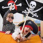 Hestya 2pièces Jolly Roger Drapeau de pirate Tête de mort Drapeau pour Pirate Pirate de fête, cadeau d'anniversaire, jour après Jour, Halloween Décoration, cadeau de Noël, 3par 5pieds de la marque Hestya image 2 produit