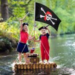 Hestya 2pièces Jolly Roger Drapeau de pirate Tête de mort Drapeau pour Pirate Pirate de fête, cadeau d'anniversaire, jour après Jour, Halloween Décoration, cadeau de Noël, 3par 5pieds de la marque Hestya image 4 produit