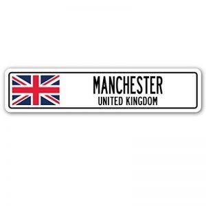 Home Decor Panneau Manchester, Royaume-Uni plaque de rue britannique Celtes Brits Drapeau Ville Cadeau plaque en métal pour extérieur Yard de sécurité en aluminium Signes de la marque Aersing image 0 produit