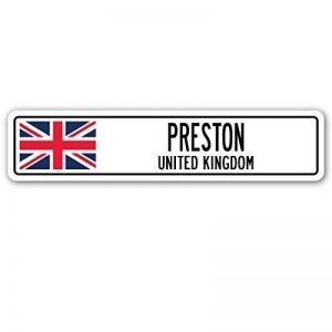 Home Decor Sign Preston, United Kingdom plaque de rue britannique Celtes Brits Drapeau Ville Cadeau plaque en métal pour extérieur Yard de sécurité en aluminium Signes de la marque Aersing image 0 produit