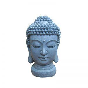 HOMEA 5DEJ1203 Statue dessin Tête de Bouddha GRC Béton Arme Fibre de Verre Gris 27 x 25 x 40 cm de la marque HOMEA image 0 produit