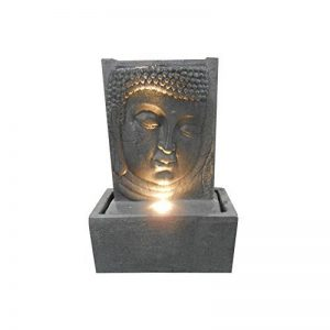 HOMEA 5FTN070A Statue dessin Fontaine Plaque Tête Bouddha Béton/Fibre de verre Gris 32 x 17 x 46 cm de la marque HOMEA image 0 produit