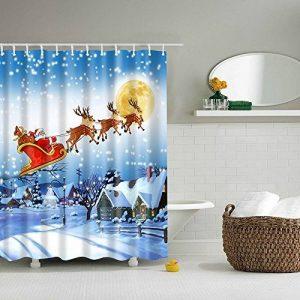 Hoomall Rideau Douche Salle de Bain Etanche Impression Cartoon Motif Traîneau de Rennes Noël Polyester Bleu 180x180cm 1Pc de la marque Hoomall image 0 produit