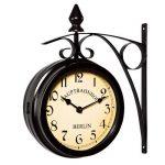 Horloge de gare noire à double sens 29 x 9,5 x 32,5 cm Montre murale rétro vintage - Horloge deux heures différentes - Heure gare de la marque Deuba image 1 produit