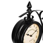 Horloge de gare noire à double sens 29 x 9,5 x 32,5 cm Montre murale rétro vintage - Horloge deux heures différentes - Heure gare de la marque Deuba image 2 produit
