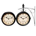 Horloge de gare noire à double sens 29 x 9,5 x 32,5 cm Montre murale rétro vintage - Horloge deux heures différentes - Heure gare de la marque Deuba image 4 produit