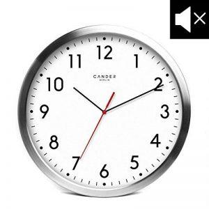 Horloge murale Cander Berlin MNU 2030 en aluminium avec fond blanc, de 30,5cm de diamètre, fonctionnement silencieux sans tic-tac énervant de la marque Cander Berlin image 0 produit