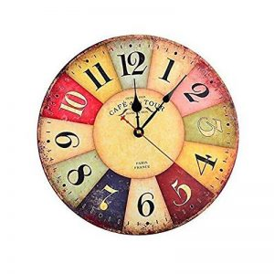 Horloge Vintage, Cuitan Pendule Murale 12 inch Silencieuse Rond Bois Rétro Horloge Décoration de la Maison Salon Cuisine Chambre à Coucher Café Bar Bureau Couloir - Coloré de la marque Cuitan image 0 produit