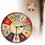 Horloge Vintage, Cuitan Pendule Murale 12 inch Silencieuse Rond Bois Rétro Horloge Décoration de la Maison Salon Cuisine Chambre à Coucher Café Bar Bureau Couloir - Coloré de la marque Cuitan image 1 produit