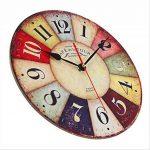 Horloge Vintage, Cuitan Pendule Murale 12 inch Silencieuse Rond Bois Rétro Horloge Décoration de la Maison Salon Cuisine Chambre à Coucher Café Bar Bureau Couloir - Coloré de la marque Cuitan image 2 produit