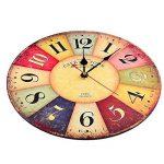 Horloge Vintage, Cuitan Pendule Murale 12 inch Silencieuse Rond Bois Rétro Horloge Décoration de la Maison Salon Cuisine Chambre à Coucher Café Bar Bureau Couloir - Coloré de la marque Cuitan image 3 produit