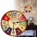 Horloge Vintage, Cuitan Pendule Murale 12 inch Silencieuse Rond Bois Rétro Horloge Décoration de la Maison Salon Cuisine Chambre à Coucher Café Bar Bureau Couloir - Coloré de la marque Cuitan image 4 produit