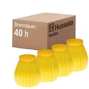 Hussala Bonfire Bougie cylindrique dans un boitier en plastique (pour d'extérieur et d'intérieur) - Durée de combustion: 40 h - jaune [4 pièces] de la marque Hussala image 0 produit