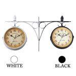 Iglobalbuy Horloge de Gare Rétro, Horloge Murale Double Cadran avec Potence de Fixation Pendule Double Face pour L'intérieur et L'extérieur Maison Jardin Cuisine Cour Séjour (Noire) de la marque Iglobalbuy image 3 produit