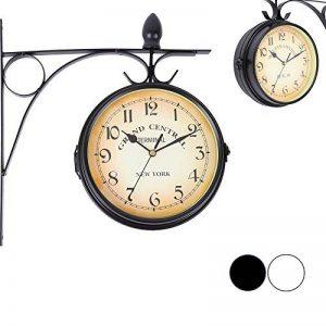 Iglobalbuy Horloge de Gare Rétro, Horloge Murale Double Cadran avec Potence de Fixation Pendule Double Face pour L'intérieur et L'extérieur Maison Jardin Cuisine Cour Séjour (Noire) de la marque Iglobalbuy image 0 produit