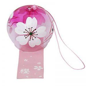 japonais Wind Chimes Breeze cloches en verre faite main Furine anniversaire Cadeau de Noël Anniversaire de mariage intérieurs (Petite Fleur) de la marque EliteShine image 0 produit