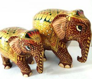 Jardin des arts Statue de figurine éléphant Royal/peinte à la main en bois sculpté Doré de style traditionnel de couleur de 2 de la marque Garden Of Arts image 0 produit
