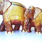 Jardin des arts Statue de figurine éléphant Royal/peinte à la main en bois sculpté Doré de style traditionnel de couleur de 2 de la marque Garden Of Arts image 2 produit