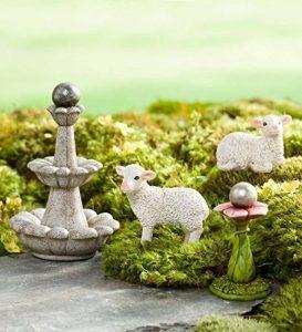 Jardin Féérique miniature Mouton et les fontaines de Lot de, 4pièces de la marque Plow & Hearth image 0 produit