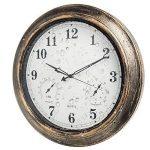 Jopee Horloge murale murale Decor-18pouce extérieur Décor murs avec la température et l'humidité, résistance aux intempéries, grande horloge pour terrasse, piscine, salle de séjour, chambre à coucher, den, et bureau–Bronze, métal, Include second hand d image 1 produit